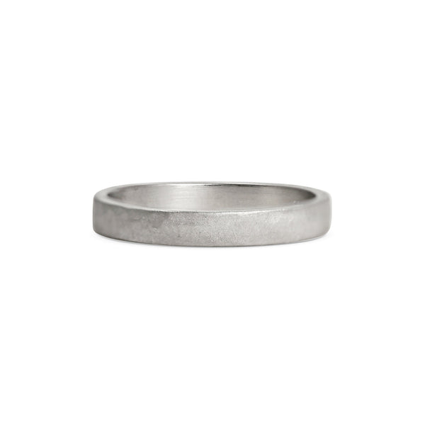 Matt Hammered Flat Wedding Band - 3MM
