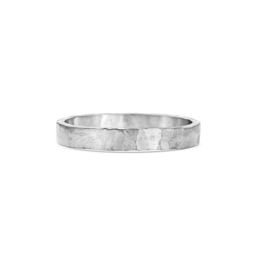 Hammered Flat Wedding Band - 3mm