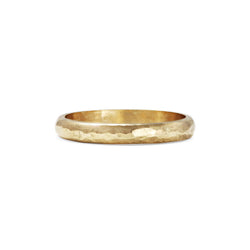 Hammered D Shape Wedding Band - 3MM