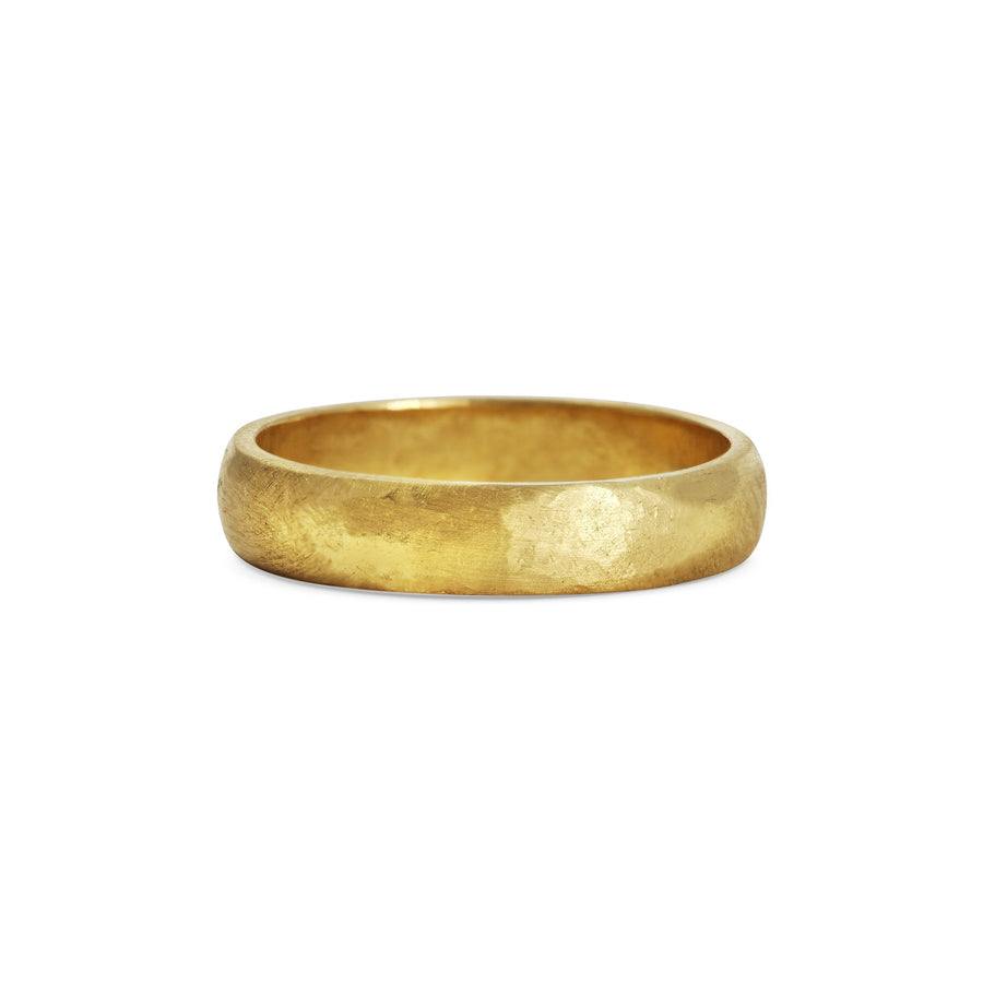 Hammered D Shape Wedding Band - 4mm