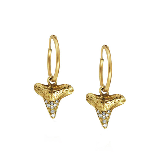 SHARK TOOTH EARRINGS WITH DIAMONDS