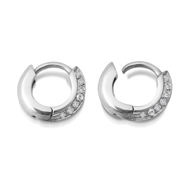 6.5MM KNIFE EDGE HUGGIE DIAMOND EARRINGS