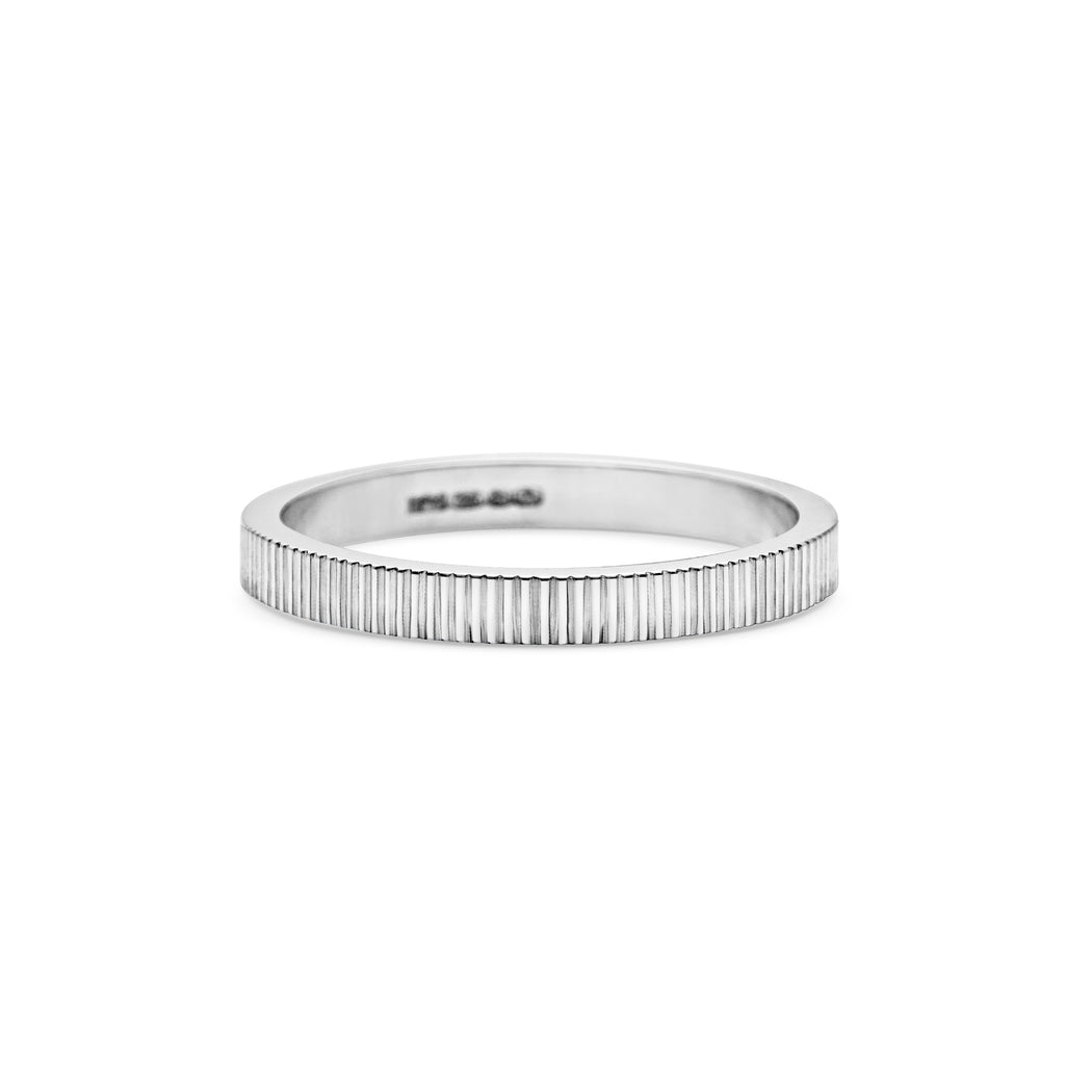 Engraved Lines Wedding Band - 2MM