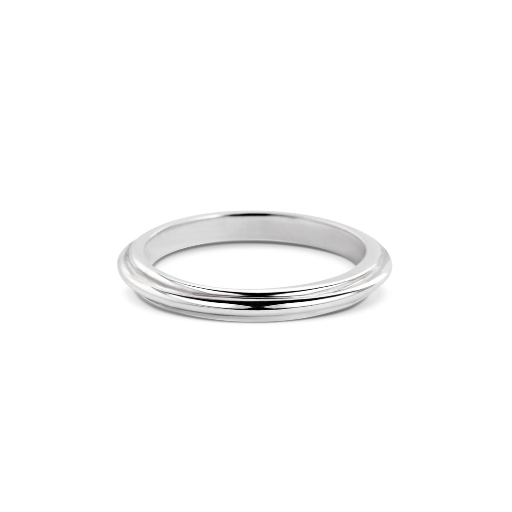 STEP EDGE WEDDING BAND - THIN
