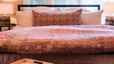 bedding and interior design of a Stowe Kitchen Bath & Linens bedroom
