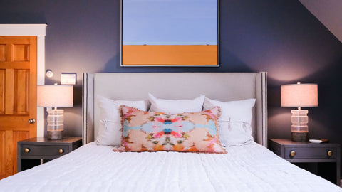 Colorful linen bedding and interior design by Stowe Kitchen Bath & Linens