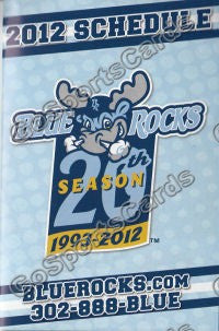 2012 Wilmington Blue Rocks Pocket Schedule 20th Anniversary #B