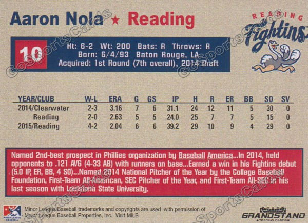 2015 Reading Fightin Phils Update Aaron Nola  Back of Card