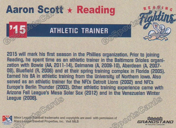 2015 Reading Fightin Phils Update Aaron Scott  Back of Card