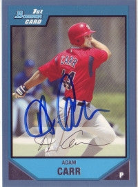 Adam Carr 2007 Bowman Chrome Blue #'ed to 500 (Autograph)