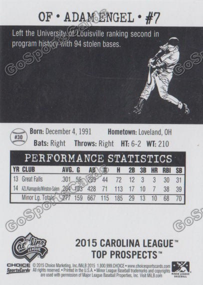 2015 Carolina League Top Prospect Adam Engel  Back of Card