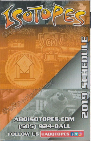 2019 Albuquerque Isotopes Pocket Schedule