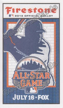 2013 MLB All Star Game Ballot New York Mets SGA