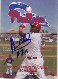 Anderson Garcia 2007 Phillies Spring Training Pocket Schedule (Autograph)