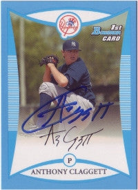 Anthony Claggett 2008 Bowman Prospects Blue #12 /500 (Autograph)