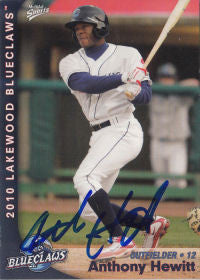 Anthony Hewitt 2010 Lakewood Blueclaws (Autograph)