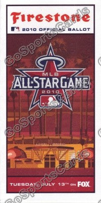 2010 MLB All Star Game Ballot Los Angeles Angels SGA
