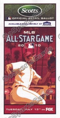 2010 MLB All Star Game Ballot Los Angeles Angels Scotts SGA