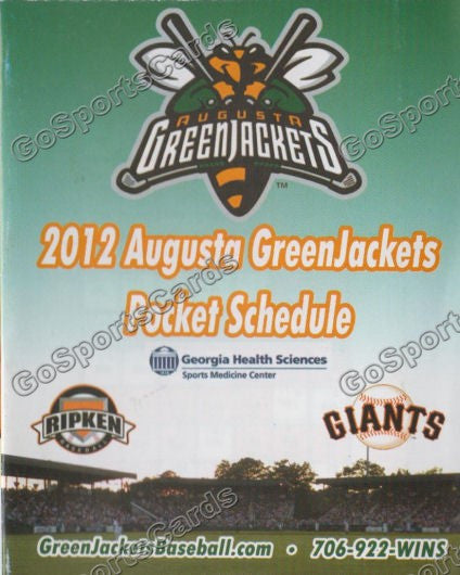2012 Augusta Greenjackets Pocket Schedule