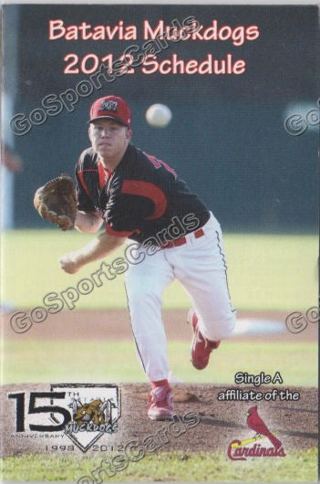 2012 Batavia Muckdogs Pocket Schedule 15th Anniversary (Jonathan Cornelius)