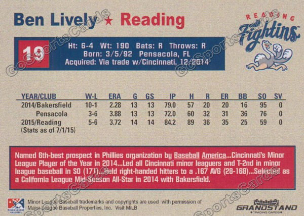 2015 Reading Fightin Phils Update Ben Lively  Back of Card