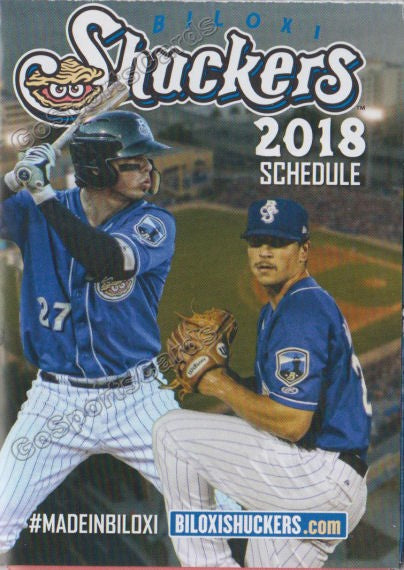 2018 Biloxi Shuckers Pocket Schedule (Taylor Williams, Jacob Nottingham)