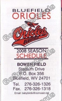 2008 Bluefield Orioles Pocket Schedule