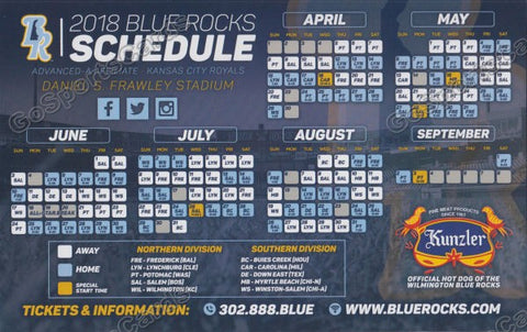 2018 Wilmington Blue Rocks Magnet Pocket Schedule