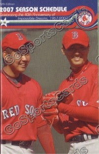 2007 Boston Red Sox Dice K and Okajima Pocket Schedule