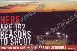 2008 Boston Red Sox B Pocket Schedule