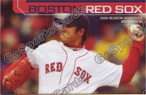 2008 Boston Red Sox Dice K Pocket Schedule