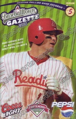 Brad Harman 2008 Reading Phillies Gazette Program (SGA)