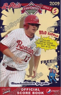 Brad Harman 2009 Reading Phillies Gazette Program (SGA)