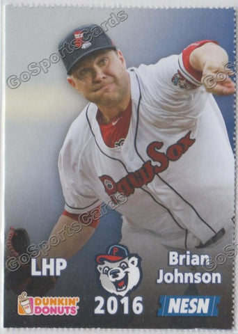 2016 Pawtucket Red Sox SGA Dunkin Donuts Brian Johnson