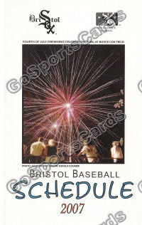 2007 Bristol White Sox Pocket Schedule (Flat)