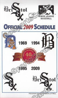 2009 Bristol White Sox Pocket Schedule (Flat)