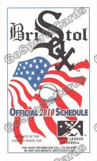 2010 Bristol White Sox Pocket Schedule (Flat)