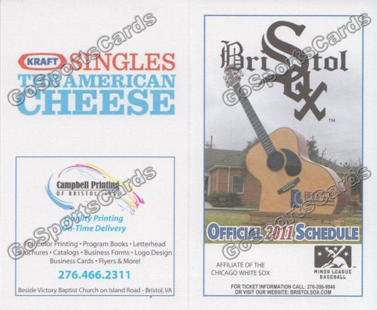 2011 Bristol Whilte Sox Pocket Schedule (Flat)