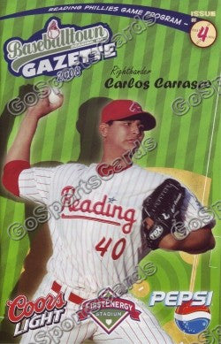 Carlos Carrasco 2008 Reading Phillies Gazette Program (SGA)