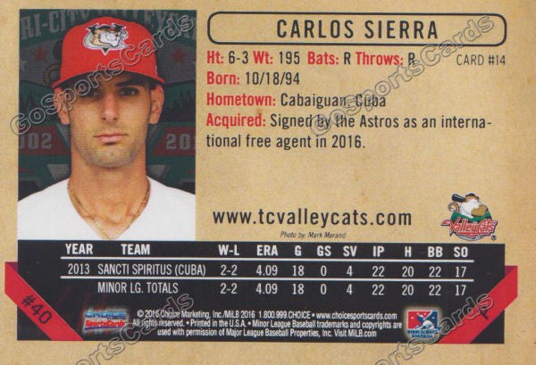 2016 Tri City ValleyCats Carlos Sierra Back of Card
