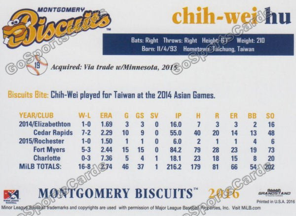 2016 Montgomery Biscuits Chih Wei Hu  Back of Card