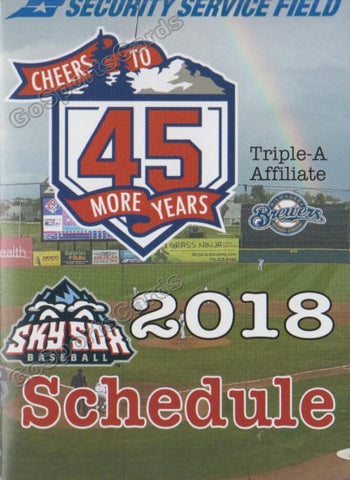 2018 Colorado Springs Sky Sox Pocket Schedule (45 Years)