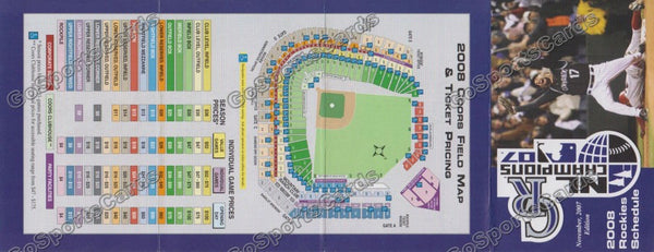 2008 Colorado Rockies Pocket Schedule (Todd Helton, 2007 NL Champions, Flat)