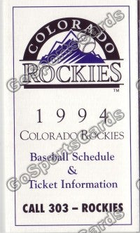 1994 Colorado Rockies Pocket Schedule