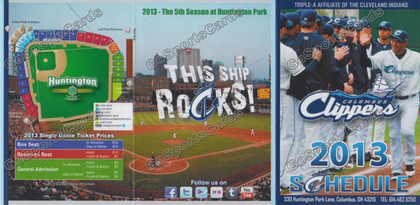 2013 Columbus Clippers Pocket Schedule (Flat)
