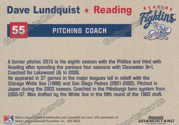 2015 Reading Fightin Phils Update Dave Lundquist  Back of Card