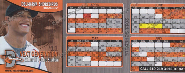 2011 Delmarva Shorebirds Pocket Schedule (Flat)(Manny Machado)