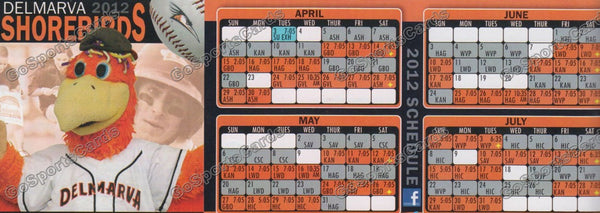 2012 Delmarva Shorebirds Pocket Schedule (Flat)(Sherman Mascot)