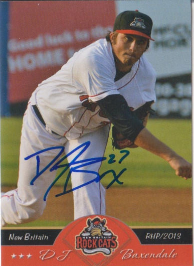 DJ Baxendale 2013 New Britain Rock Cats Autograph