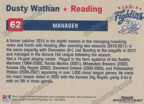 2015 Reading Fightin Phils Update Dusty Wathan  Back of Card